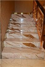 Gold Dragon Marble Interior Staircase & Steps for Floor Covering /Rich Gold Marble Slabs Cut to Size Sofitel Gold Marble, Sofita Gold, Crema Eva,Crema Evita Risers