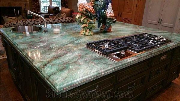 Luxury Quartzite Kitchen Bar Tops Green Imperial Countertops