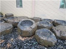 Cheap Price Manmade Zhangpu Black Basalt China Black Basalt Natural Split Surface Flower Pots, Zhangpu Black Basalt Outdoor Planters