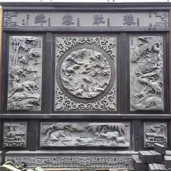 Nature stone artwork wall decoration relief carving from china