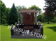 Chinese/Japanese/Korean Style Monument/Headstone, Black and Red Granite with Book and Carving