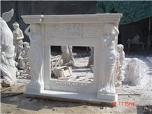 China Sichuan White Marble Fireplace with Figures