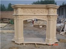 Sunny Beige Marble Fireplace Mantel with Columns Design