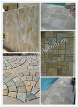 Multicolor Quartizite Walling and Flooring Tiles, China Yellow Quartzite French Pattern