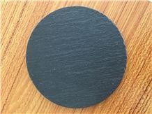 Round Shape Natural Edge Slate Stone Coaster