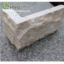 China Hard Beige Color Travertine Split Mushroom Pillow Castle Stone Exterior Wall Cladding Tile and Corner