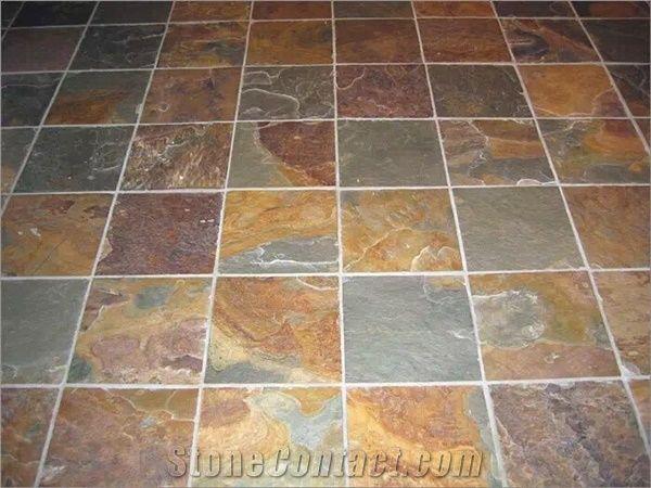 Chinese Rusty Slate Tiles Multicolor Floor Flooring Stone Rust Pattern Covering
