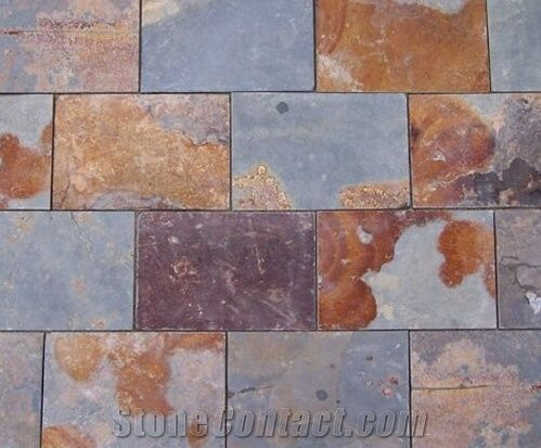 Natural Split Slate Tile China Yellow Square Rusty Tiles For Outdoor Decoration Culture Stone Made In