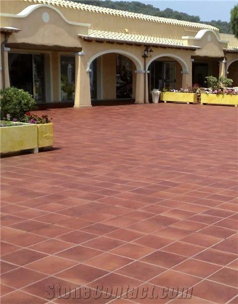 Red Sandstone Tiles Floor Wall