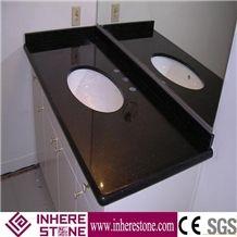 India Galaxi Black Granite Custom Vanity Tops, Nero Star Galaxi Bathroom Countertops, India Black Gold Granite Good Price