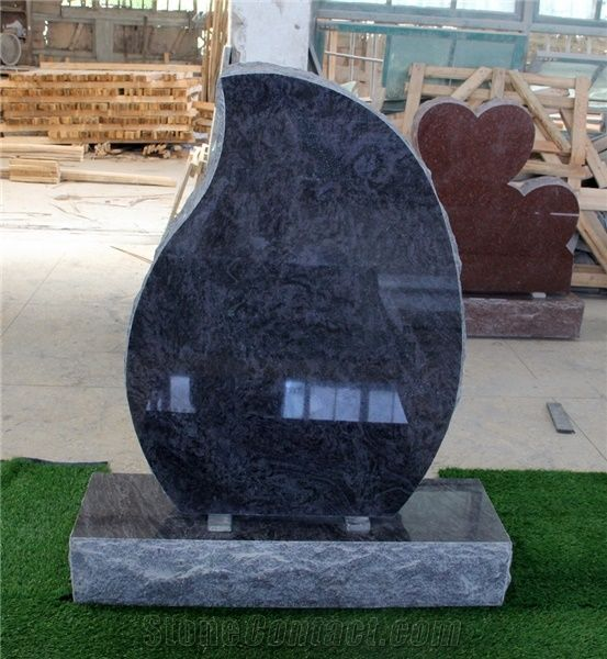 Bahama Blue Granite Teardrop Shape P2 Brp Monument From