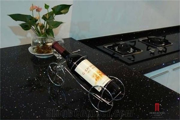 Artificial Engineered Black Galaxy Quartz Stone Kitchen Countertop