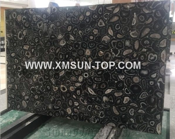 Black agate semiprecious stone big slabs tiles gangsaw slab strips