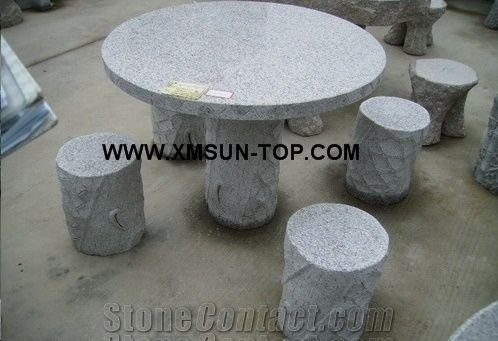China Grey Granite Bench G603, Round Stone Table Outdoor