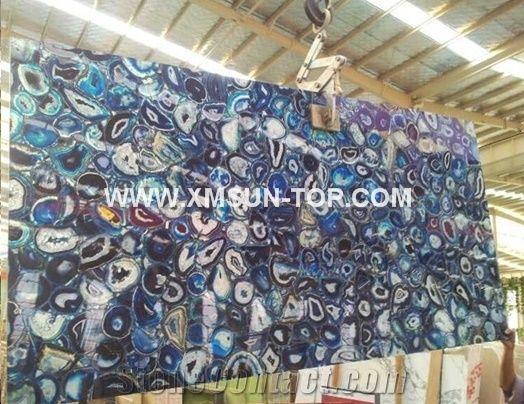 Dark blue agate semiprecious stone big slabs tiles gangsaw slab