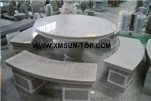 G603 Granite Bench/Sesame White Granite Round Table/Bianco Amoy Granite Exterior Furniture/Bianco Crystal Granite Garden Tables/Monte Bianco Granite Outdoor Chairs/Street Furniture/Landscaping Stone