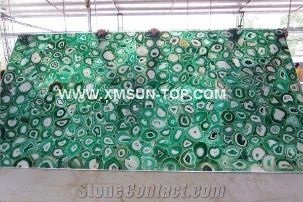 Green agate semiprecious stone big slabs tiles gangsaw slab strips