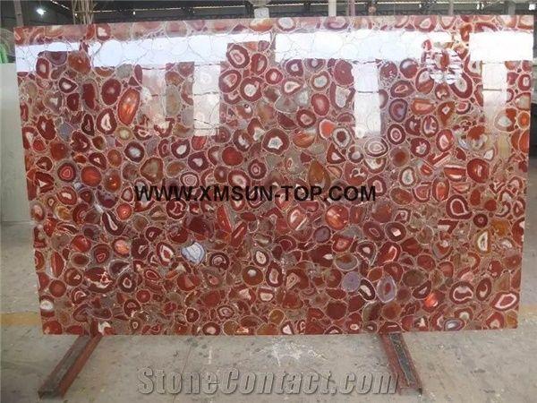 Red agate semiprecious stone big slabs tiles gangsaw slab strips