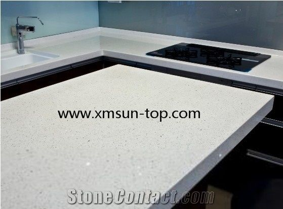 White Quartz Kitchen Countertop Artificial Quartz Tops