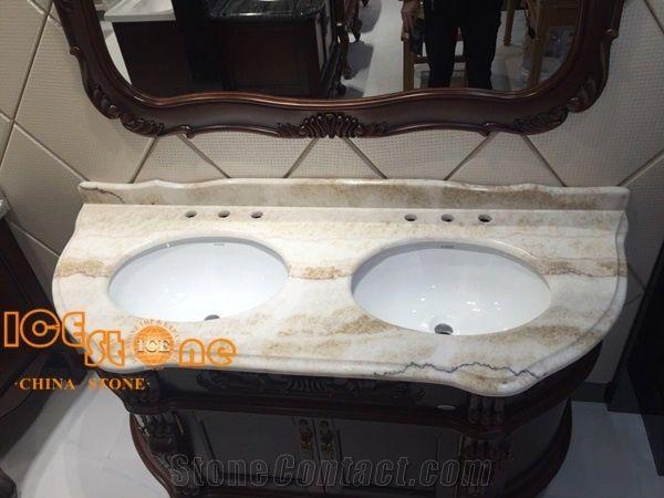 Beige Onyx Bathroom Countertops Stone Vanity Tops