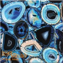 Blue Agate Semi Precious Stone Panels Backlit