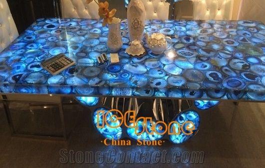 Blue Agate Table Top/Blue Agate Countertop, Blue Semiprecious Stone  Tabletops