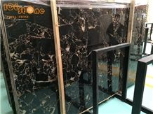 China Black Portoro Marble Slabs Tiles/ Nero Portoro Marble/Portoro Extra Scuro/Nero Portoro Vena Larga Marble/Floor Covering/Building Natural Stone