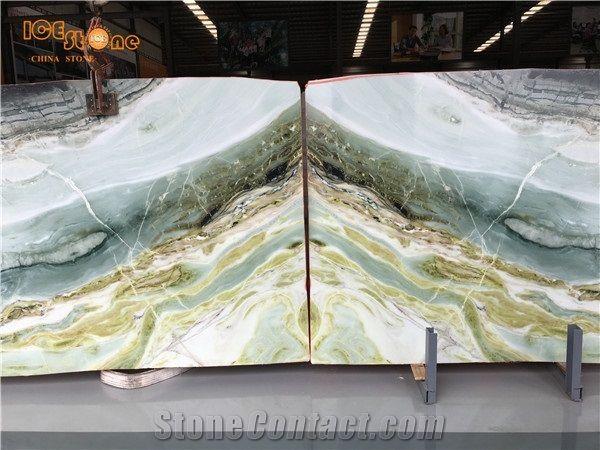 China Natural Stone Chinese Polished Green Marble Slab