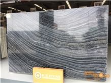 China Silver Wave Polished Leather Brushed Finished Marble Tiles & Slabs/Zebra Black/Kenya/Fossil/Countertops/Tv Set/Bookmatch/Thin/Floor/Wall