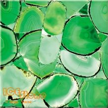 Green Agate Backlit Precious Stone Slabs