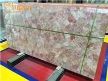 Pink Crystal Simiprecious Stone/Pink Gemstone Slabs/Chinese Precious Stone Tiles