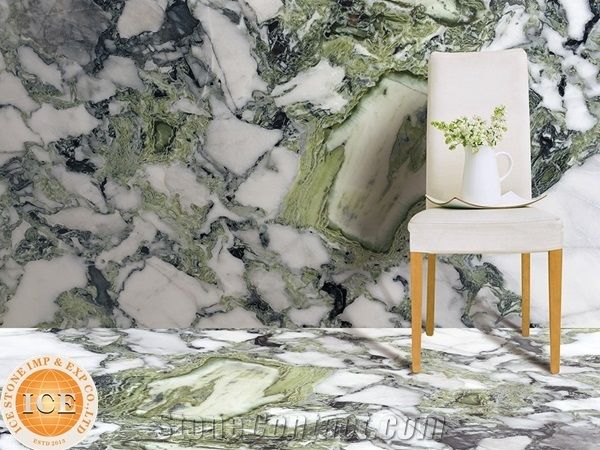 Popular White Green Marble With Black Veins Cheap China