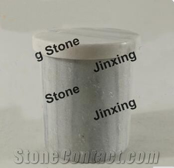 White With Grey Veins Marble Salt Jar Marble Box Marble Lidded Canister Marble Kitchen Canisters From China Stonecontact Com