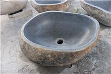 Bathroom Wash Oval Basins, Indonesia River Natural Stone Grey Stone Wash Basin, Pebbles Round Wash Basin