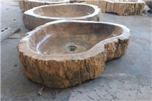 Indonesia Petrified Wood Oval Basins, Brown Petrified Wood Semiprecious Stone Basin, Petrified Wood Sink Manmade Stone Round Basin