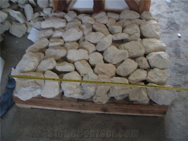 Indonesia Scaled White Limestone Wall Cladding Brick