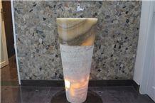 Onyx Wash Basin, Indonesia Onyx Wash Basin, Indonesia Round Onyx Pedestal Wash Basins