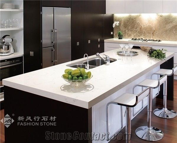 Quartz Surface Marble Color Manmade Stone Kitchen Countertops Carrara China Engineered Artificial Solid