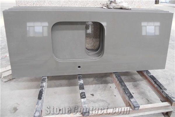 Pure Grey/Dark Grey Quartz Countertop Smoke Quartz Stone Countertop,  Engineered Stone, Bathroom Countertop