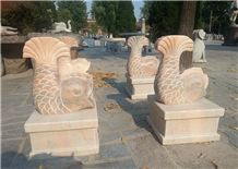 Hand Carved Stone Animal for Decoration in Garden, Sunset Marble Stone Carved Fish