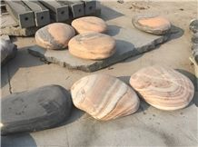 Large Polished Pebble Stone for Decoration in Garden , Striped Polished Pebble in Landscaping ,Sunset Marble Polished Pebble