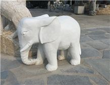 Marble Hand Carved Stone Animals , Stone Elephant , White Marble Hand Carved Elephant