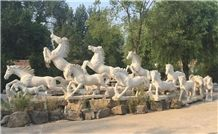 Outdoor Large Hand Craved Stone Animals , Stone Horse