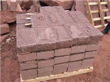 Red Sandstone Natural Split Wall Stone Tiles, Sandstone Border Stone