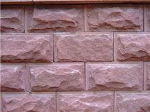 Shandong Red Sandstone Honed Mushroomed Cladding, Red Sandstone Wall Stone, Red Sandstone Mushroomed Stone