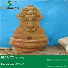 Beige Marble Outdoor Rolling Sphere Fountains, Exterior Landscaping Stone Water Fountain, Garden Water Features, Sculptured Fountains, Wall Mounted Fountains