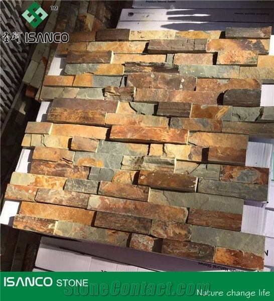 Cheap Slate Split Face Culture Stone Rusty Stone Wall