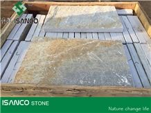 Natural Slate Tiles Split Surface Rough Slate Floor Tiles Outdoor Decoration Slate Covering Rusty Slate Pattern Mixed Color Cut to Size Slate Stone Flooring in Stock
