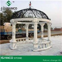 Natural White Marble Sculptured Garden Gazebos & Pavilions, Column Gazebo,Garden Gazebo with Iron Top,Western Style Gazebo,Marble Carved Gazebo,Sculptured Garden Gazebo, Landscaping Stones