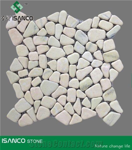 Quartzite Verde Pebble Mosaic Green Quartz Stone Tumbled For Indoor Flooring Pattern Floor Meshed Tiles